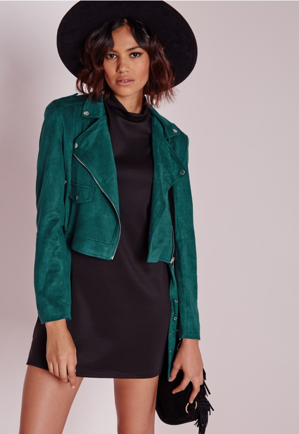 Missguided Teal Suedette Jacket